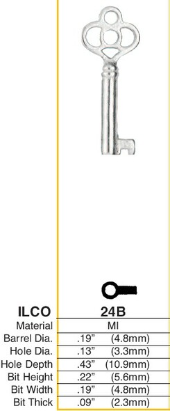 Key Blank, Barrel/Post type 24B