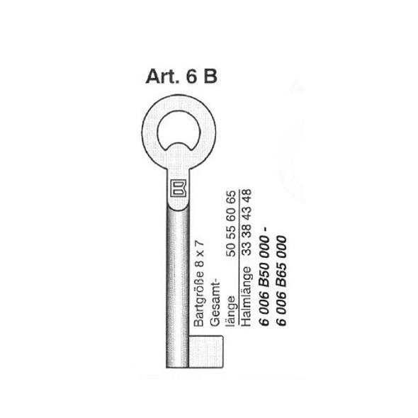 Key blank, Borkey Art. 6B/50 Bit Post Furniture