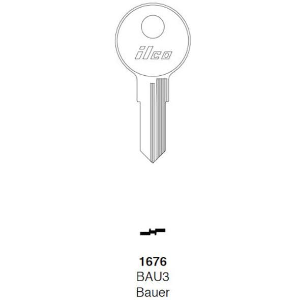 Ilco 1676 Key Blank, Baur  BAU3