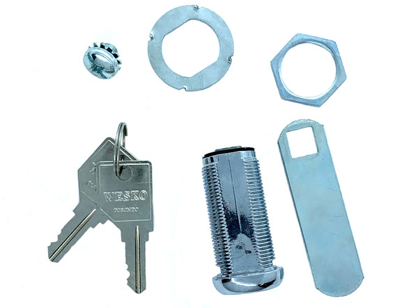 """Wesko Cam Lock, X-1.5"""" 1-1/2"""" Length, 2"""" Cam Core Install/Removable Nickel Finish"""