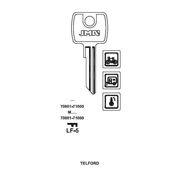 JMA LF-5 Key Blank, Lowe & Fletcher