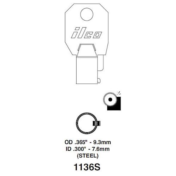 Ilco 1136S Key Blank Tubular, Small Diameter