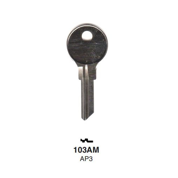 Key blank, Ilco 103AM, Chicago/Steelcase AP3