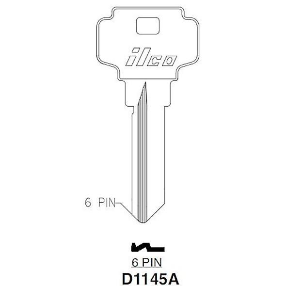 Key blank, Ilco D1145A Dexter Shape C 6-pin
