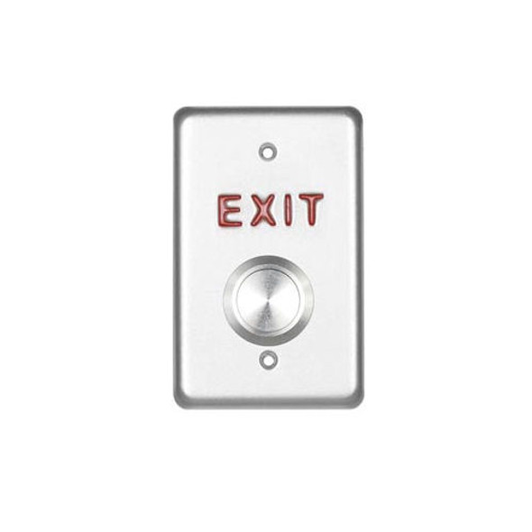 Exit Button Momentary DPDT, ETI SVE25, Red Exit Lettering - Vandel Resistant Stainless Button, 689 Finish