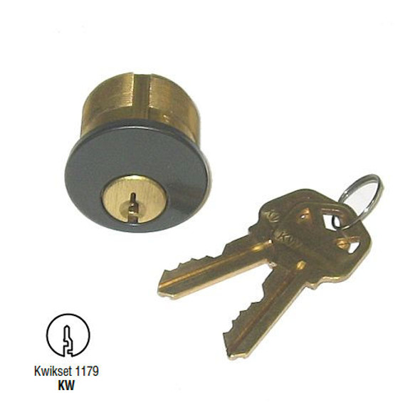GMS M100-KW-10B Mortise Cylinder 1in, Kwikset KW1, Keyed Different