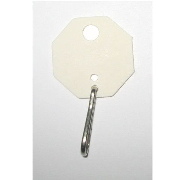 Lund 507 Key Tags, Octagonal White Fibre Unnumbered (100-Pack)