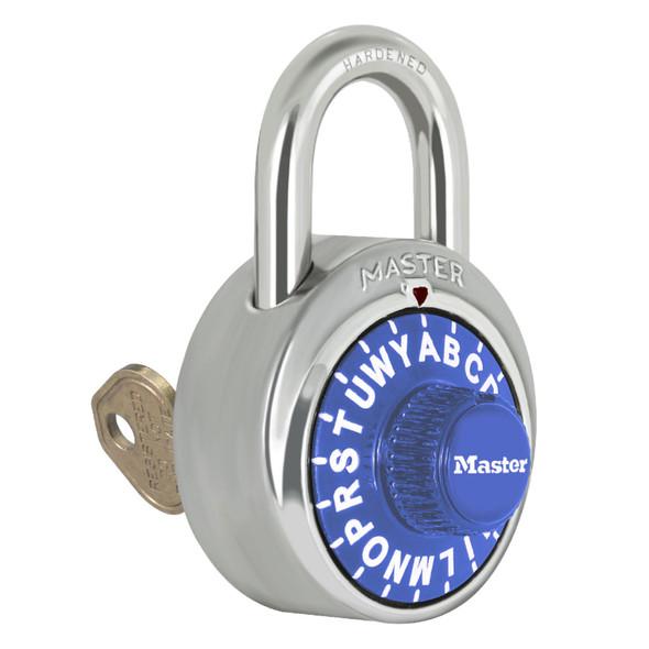 Master Lock 1585 Padlock, Combination, Blue Dial Key-Bypass V51