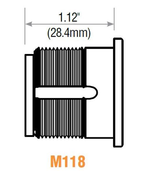 GMS M118-YA-10B Mortise Cylinder, 1-1/8 Yale Y1, Keyed Different