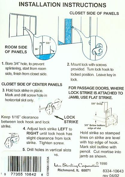 Sterling CD-1064-B Folding Door Lock, Keyed Alike