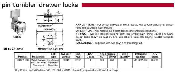 Compx National C8137 26D Desk/Drawer Lock, Keyed Alike 101