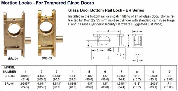 Bottom Rail Lock, Ilco BRL-01 Glass Doors
