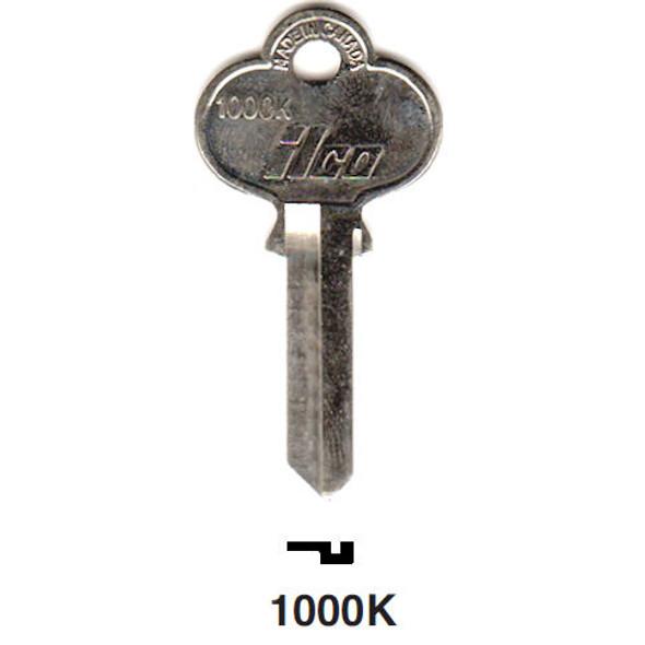 Key blank, Ilco 1000K, fits Old CCL