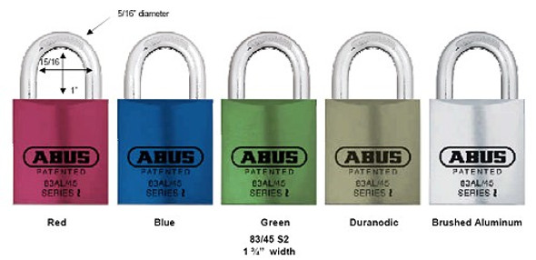 "Abus 83AL/45 Blue Padlock with 1"" Brass Shackle, Schlage C Keyway, Custom Keyed"