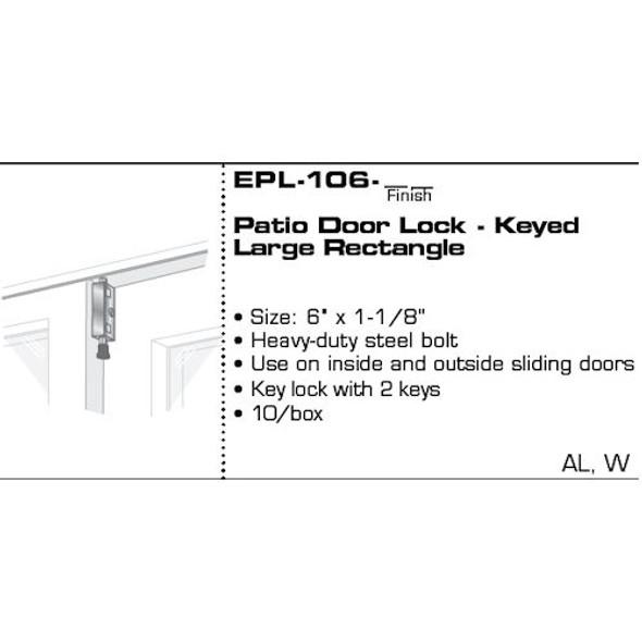 Pro-Lok EPL-106-AL Entry Armor Keyed Patio Door Lock