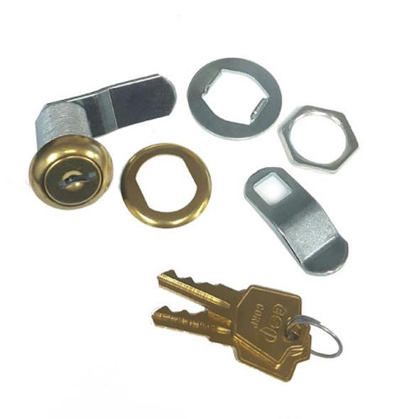 "ESP V437C8055 Polished Brass Cam Lock, 1-7/16"" Keyed Alike ES201"