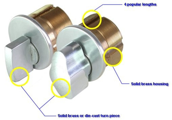 """Thumb Turn Mortise Cylinder, GMS M100T US3, 1"""" Polished Brass"""