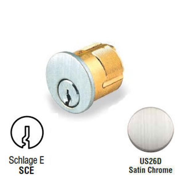 GMS M100-SCE-26D Mortise Cylinder 1in, Schlage E, Keyed Alike (2-Pack)