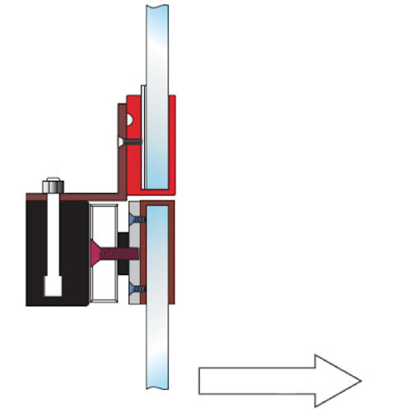 Full Glass Door Mounting Kit, Rofu 21095N-OUT, Two U-Brackets and L-Bracket for