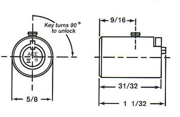 Cylinder, Chicago C4260-19 KA L463 for T-Handle OU-4260 Keyed Alike L463
