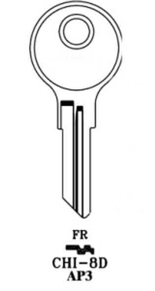 Key blank, JMA CHI8DE for Chicago AP3/103AM