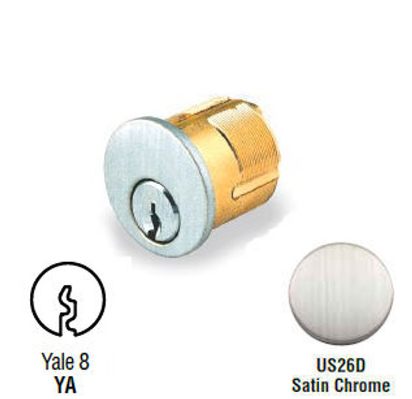 GMS M100-YA-26D Mortise Cylinder 1in, Yale Y1, Keyed Alike (2-Pack)