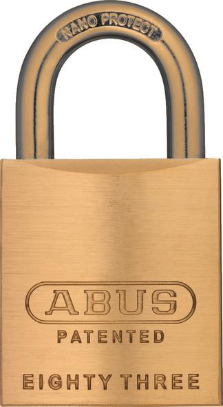 Abus 83/45-900 Brass Body Padlock with Brass Shackle, Arrow Keyway, Custom Keyed