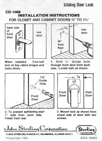 Sterling CD-1068-US3 KA, Sliding Door Lock, Keyed Alike Custom
