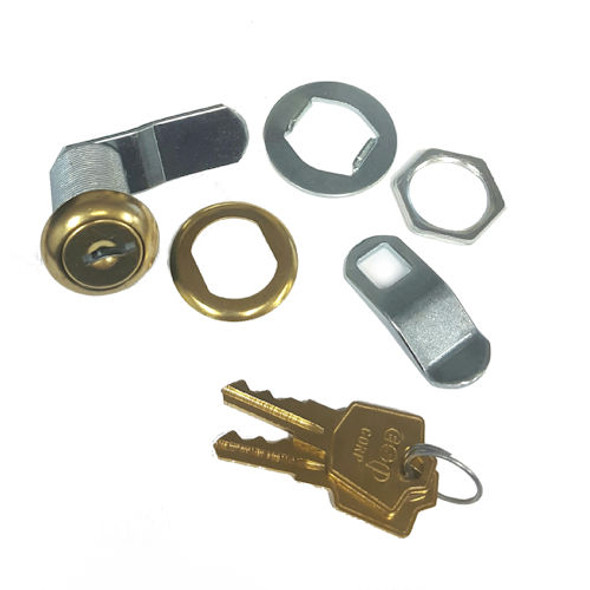 "ESP V375C8056 KA ES201 Polished Brass Cam Lock 1-3/8"",  Keyed Alike ES201"