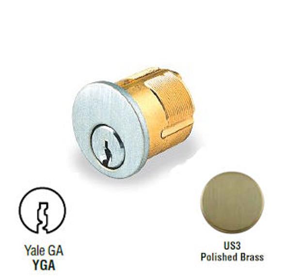 GMS M118-YGA-US3 Mortise Cylinder, 1-1/8 Yale GA, Custom Keyed