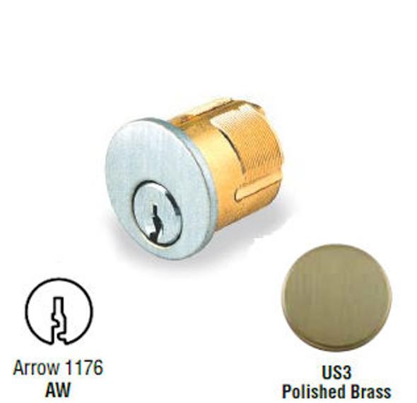 GMS M118-AW-US3 Mortise Cylinder 1-1/8, Arrow AR1, Custom Keyed