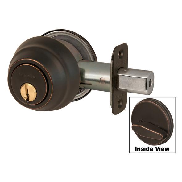 Master Lock DSH0612P Deadbolt, S/C Aged Bronze KW1, Custom Keyed