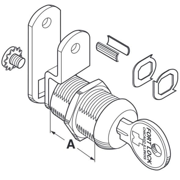 CompX Fort Cam Lock, 1 1/8 Keyed Alike 211