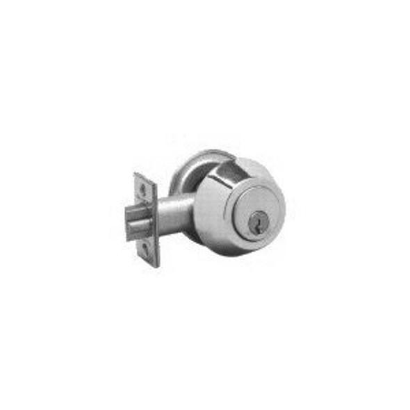 Cal-Royal GL330 26D Brushed Chrome Double Cylinder Gate Deadlatch, Custom Keyed