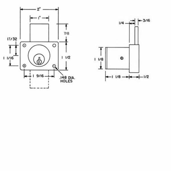 "Olympus Lock 800SC Desk Lock, Brushed Chrome/26D, 1-1/8"", Factory Keyed"