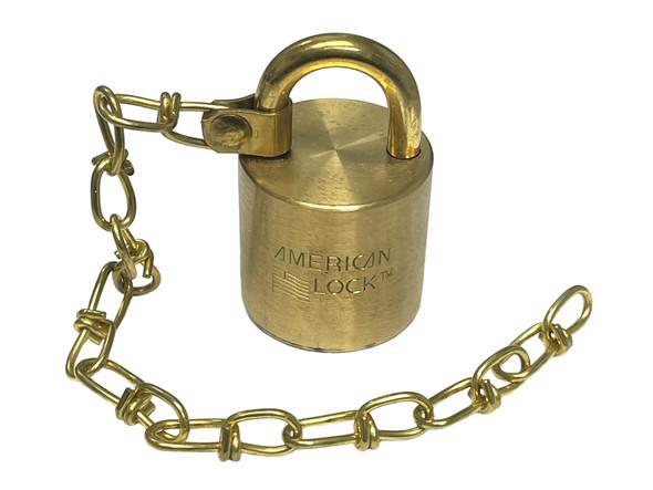 American Lock AMS100W Padlock, Brass Body/Chain, Keyed Different