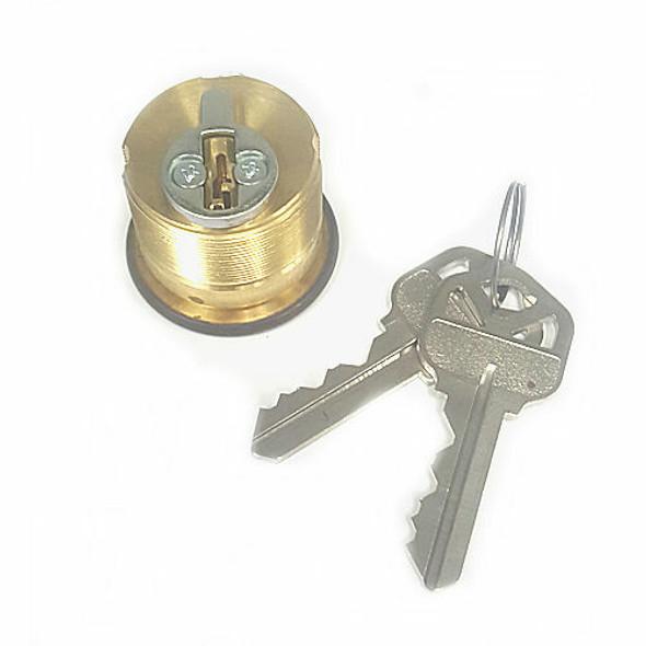 "Ilco 7165WA2-03P 1"" Mortise Cylinder,  Weiser, Brass Finish, Custom Keyed"