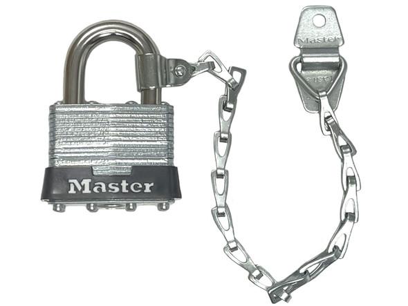 Master Lock 1KACN Laminated Steel Padlock w/Collar and Chain, Factory Keyed
