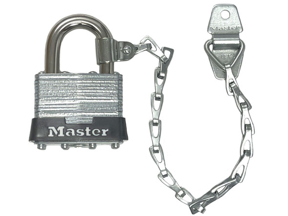Master Lock 3KACN Laminated Steel Padlock w/Collar and Chain, Factory Keyed