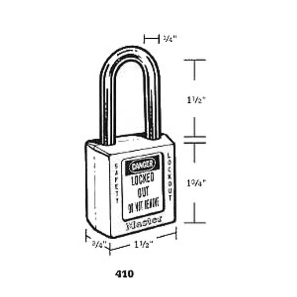 Master Lock 410 Blue Safety Padlock,  Keyed Different