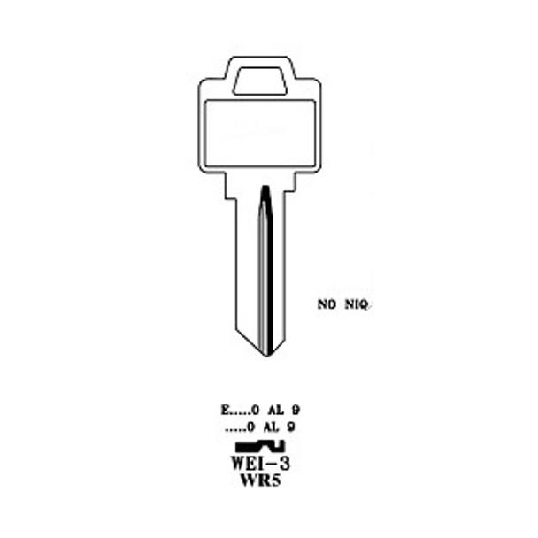 Key blank, JMA WEI3E for Weiser WR5