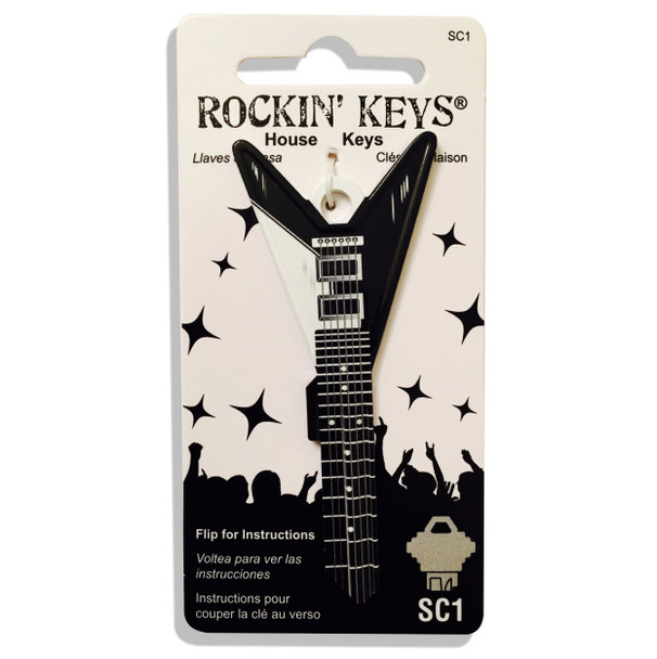 Rockin Key Blank, 4681-SC1 Black V Guitar