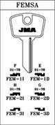 JMA FEM-1D Key blank, Compatible with Ilco F91E Key blank, Alfa Romeo, Autobianchi F69E