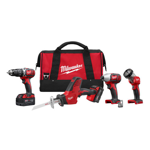 M18 2695-24 18-Volt Lithium-Ion Cordless Hammer Drill/HACKZALL/Impact Driver/Light Combo Kit (4-Tool