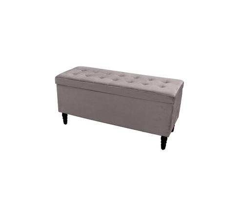 Velvet Luxe Storage Ottoman | Charcoal