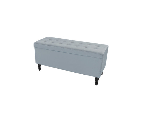 Velvet Luxe Storage Ottoman | French Blue