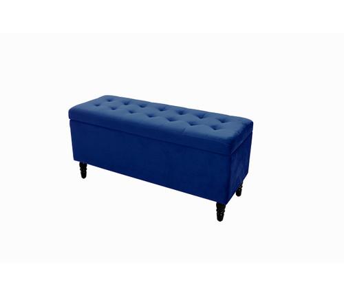 Velvet Luxe Storage Ottoman | Navy Blue