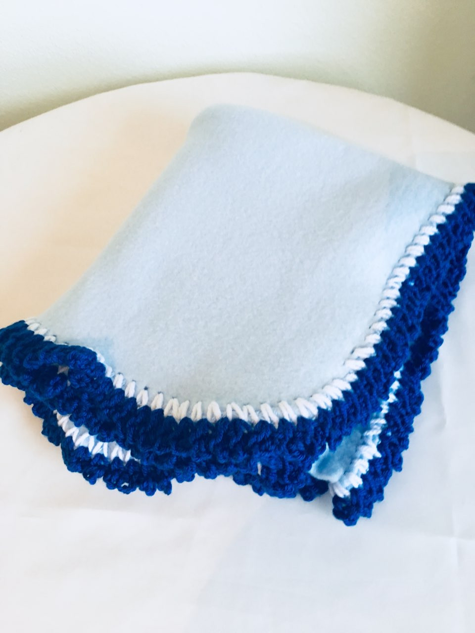 Royal Blue Cupcake Polar Fleece Baby Blanket French Designed Hand Crocheted Border White Royel Blue Free Shoping Shop1707llc
