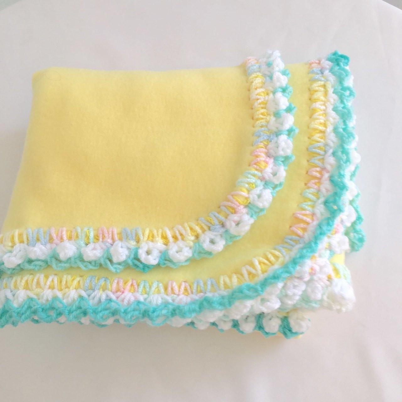 Rainbow Cotton Candy Polar Fleece Baby Blanket Country Look Hand Crocheted Border Rainbow White Ice Green Free Shipping Shop1707llc