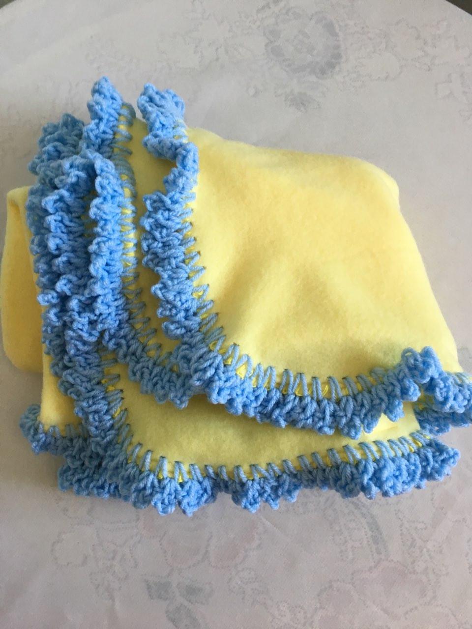 Blue Icing Polar Fleece Baby Blanket French Design Hand Crocheted Border Light Blue Light Blue Free Shipping Shop1707llc